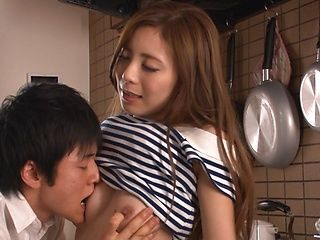 Amazing wife Madoka Hitomi receives a rough fuck in the kitchen