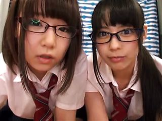 Pretty Asian schoolgirls get a worthy threesome