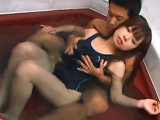Hot Asian teen Anna Oguri, gets oiled up and finger fucked in bath