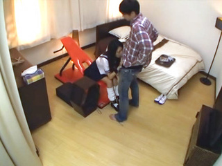 Rinon Miyazaki Asian teen in school uniform  gets cum on her face