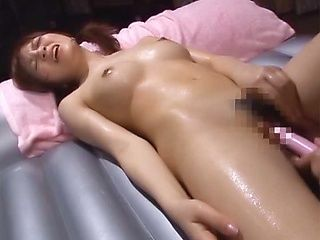 Horny big titted Japanese AV Model has an oily fuck session