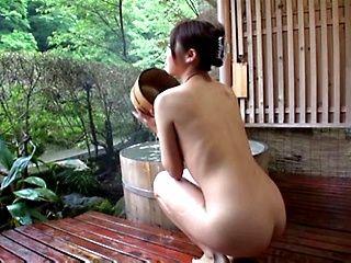Riba Kanna nice Asian teen in outdoor bath sucks cock