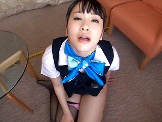 Gorgeous stewardess Asami Nanase strips and sucks on pov video