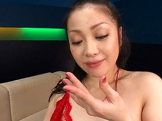 Gorgeous Asian babe, Minako Komukai, in red lingerie gives head