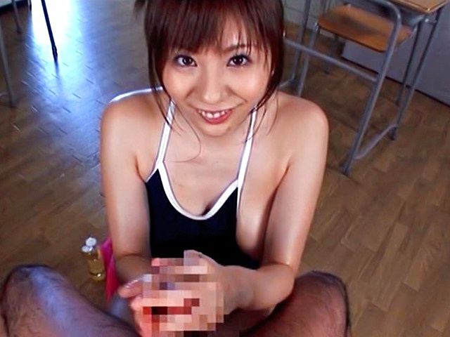 Yuma Asami Asian babe in swimsuit sucks cock