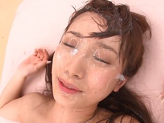 Sleazy Asian milf, Nanami Kawakami enjoys several cocks in her twat during gangbang