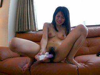 Frisky Japanese amateur lady Moe Fujisaki drills herself with toys