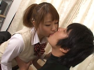 Naughty Asian schoolgirl Mao Hamasaki sucks her boyfriend's hard dick
