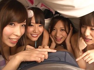 Yuria Ashina and her three girlfriends share cock and give a ride