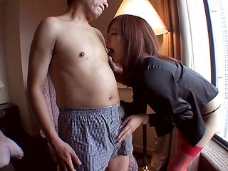 Kinky hottie in red stockings Miyabi licks and fucks her boyfriend hard