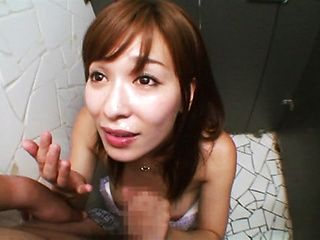 Busty amateur milf Kaho Kasumi sucks cock in a toilet swallows cum