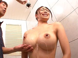 Big titted JP babe, Reiko Kobayakawa with glasses fucks in the bathroom