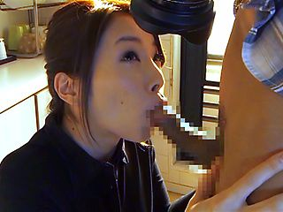 Horny JP housewife, Tamaki Nakaoka sucks the photographer sensually
