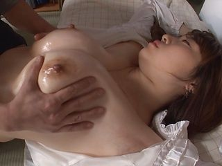 Busty housewife Shinobu Kouno gets her mouth and her big tits fucked
