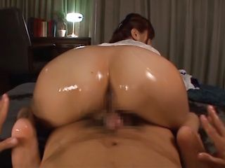 Kinky amateur girl Yuu Namiki oils her ass and licks body of her guy