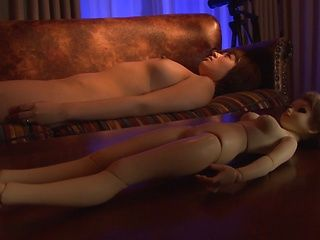 Horny Asian MILF, Rika Hoshimi fucks herself on the sofa