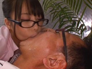 Amateur office lady Erika Kitagawa, blows cock and swallows warm jizz