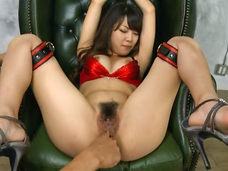 Asian chick in red lingerie Rinn Tsuchiya gets pussy drilled with dildos