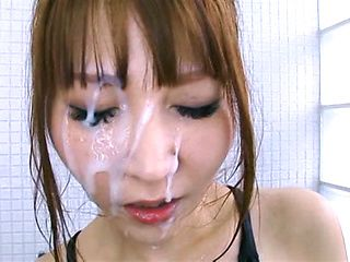 Rei Aimi enjoys a gangbang in her swimsuit