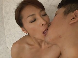 Shy Asian wife,Hisae Yabe  jerks off her hubby in the bathtub