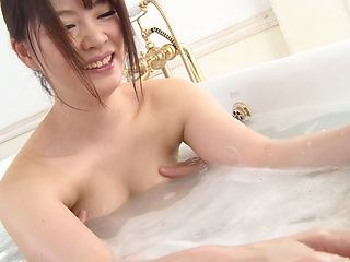 Hot JP MILF Kaede Satsuki gives head and a tit fuck in the bathtub