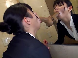 Horny office lady Mira Tamana sucks a dildo in the toilet
