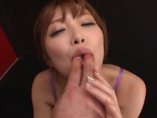 Hot redhead milf Rina Kato deepthroats her lover swallows jizz