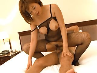 Hot MILF Sara Saijou in a fishnet catsuite gets banged hard