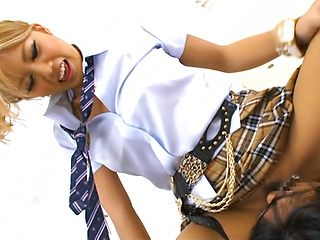 Naughty blonde schoolgirl Arisa Talkimoto is a masterful cock rider