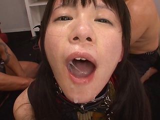 Konishi Marie naughty Asian chick plays slave in hot group