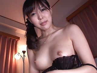 Stunning wife in sexy black lingerie Tsukasa Aoi rides on cock