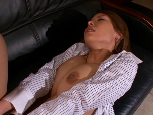 Haruka Sanada naughty Asian milf fucks boss in the office
