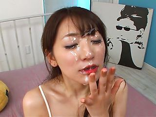 Alluring Japanese chick Saki Kouzai licks ass sucks cock gets cum in mouth