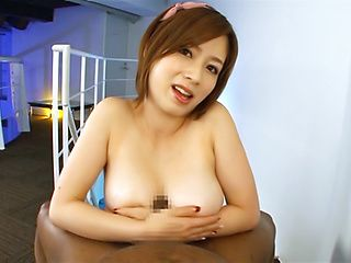 Skillful busty lady Saki Okuda enjoys titfuck gets cum on boobs