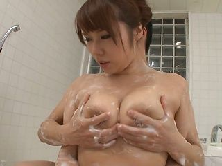 Big tit Asian Milf Maika Kazane enjoys cock during a soapy shower