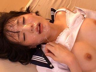 Petite horny schoolgirl Airi Suzumura fucked by horny guys gets bukkake