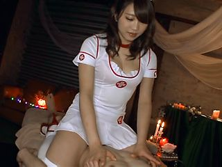 Horny cosplay action with Asian Shino Kuraki giving blowjob