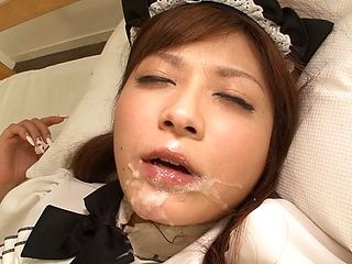 Hot Asian maid in fancy stockings Satou Haruka enjoys threesome bang
