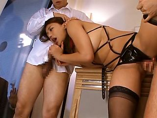 Busty chick in back stockings Mei Matsumoto enslaved and fucked