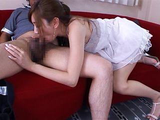 Attractive Kaori Maeda sucking a massive dick