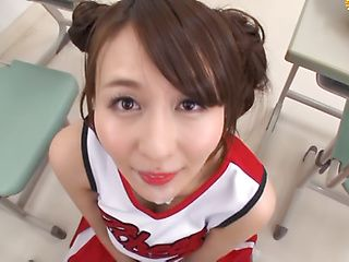 Naughty Japanese schoolgirl Jessica Kizaki gives a hand work on pov