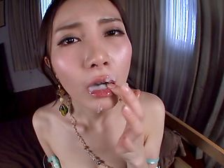 Misuzu Tachibana, randy Asian milf in pov cock sucking