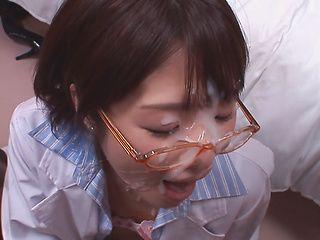 Kinky woman in black ripped pantyhose Tsukasa Aoi gets a facial load