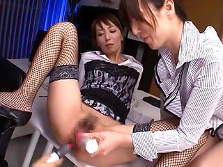 Naughty Asian office lady Reiko Sawamura gets ass insertion on the job