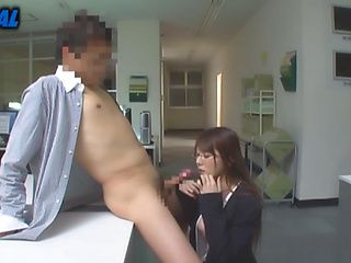Luscious seductress office lady sucks a huge dong