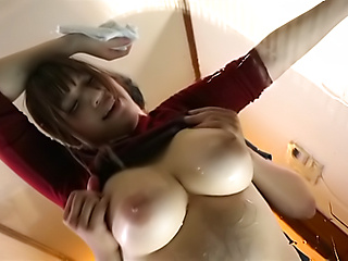 Hunk could not stop squeezing Saegusa Chitose's boobs