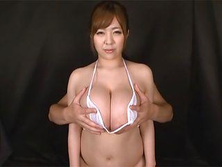 Ran Niiyama alluring Asian milf gets huge boobs felt up on video