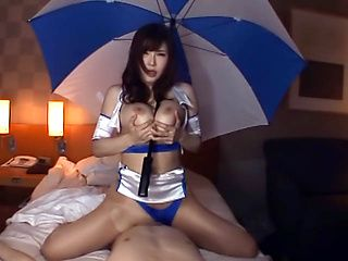 Asian Race queen Anri Okita gets tits fucked and a dick ride