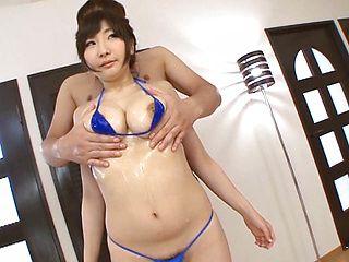 Fumina Aizawa hot Asian babe gets oiled tits fucked