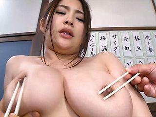 Hot Asian service worker Meguri in hardcore threesome